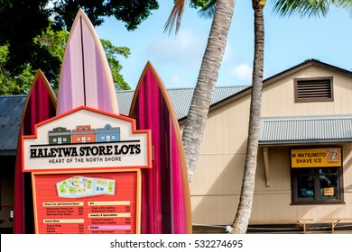 Haleiwa Town, HI: September 27, 2016: Haleiwa Store Lots sign and store in the background. Haleiwa Town is on the North Shore of Oahu in the state of Hawaii, USA.