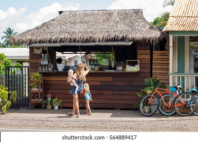 Haleiwa Town, HI: September 27, 2016:  Juice stand in the town of Haleiwa.  Hawaii is the 50th state.