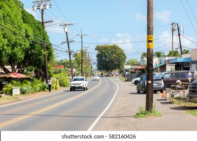 Haleiwa Town, HI: September 27, 2016: Highway in the town of Haleiwa, Hawaii. Hawaii is the 50th state.