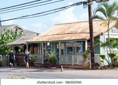 Haleiwa Town, HI: September 27, 2016: Scene of the town of Haleiwa, Hawaii. Hawaii is the 50th state.