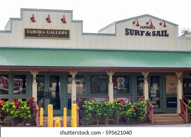 Haleiwa Town, HI: September 27, 2016: Local shopping area in the town of Haleiwa, Hawaii. Hawaii is the 50th state.