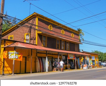 HALEIWA, UNITED STATES OF AMERICA - JANUARY 12 2015: wide shot of a historic surf store at haleiwa on the north shore of hawaii