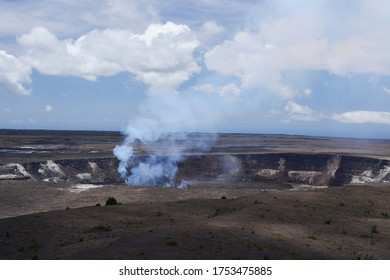 Halemaumau Crater steam vent within the Kilauea Volcano Caldera in Hilo, Hawaii - depicted is the breadth of the pit and an area of emission.