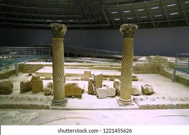 HALEPLIBAHCE MOSAIC MUSEUM, SANLIURFA, TURKEY - 20 October 2018. An interior view from the Haleplibahce Mosaic Museum.
