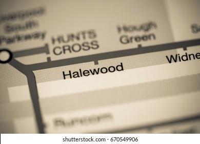 Halewood Station. Liverpool Metro map.