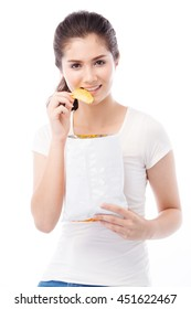 half asian woman eating snack on white background