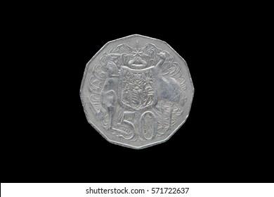 Half australian dollar coin isolated on black background