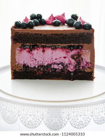 Half Beautiful Chocolate Cake Blueberry Cheesecake Stock Photo Edit