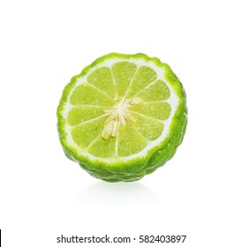 A half of bergamot fruit isolated on white background.