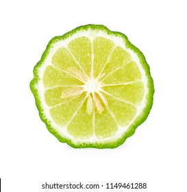 A half of bergamot or kaffir with seeds isolated on white background.