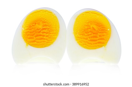 A half boiled eggs isolated on white background.