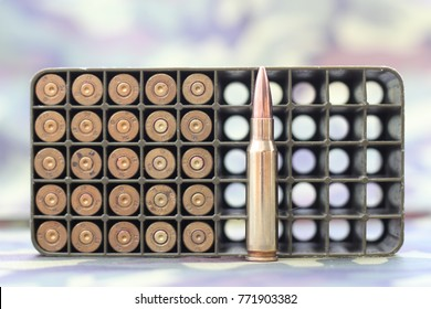 half a box of used ammunition