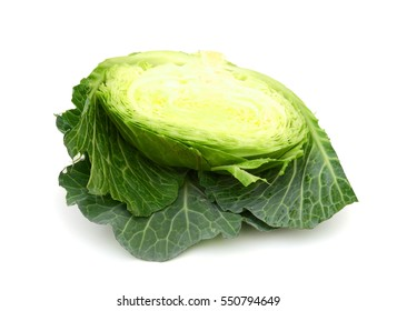 half cabbage isolated on white