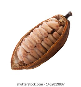 half of cacao pod with cacao beans isolated on white background