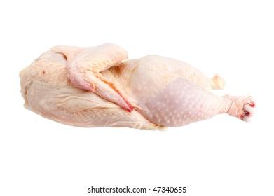 Half chicken on white background