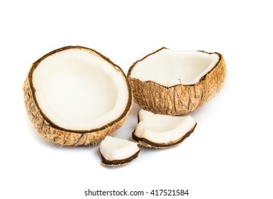 Half of coconut close up on a white background.