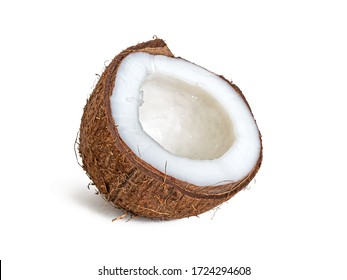 Half of a coconut close-up with white flesh and fibrous shell, isolated on a white background