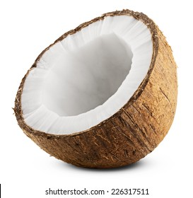 Half coconut isolated on white Background. Clipping Path