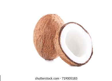 Half of coconut isolated on a white background