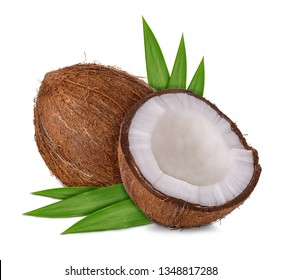 half coconut and leaves isolated on white background with clipping path and shadow
