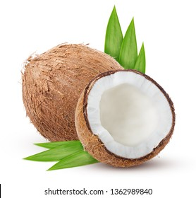 half coconut and leaves isolated on white background with clipping path shadow