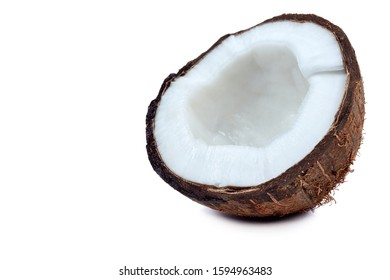 Half coconut on a white background