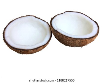 Half Coconuts isolated on white background.