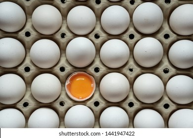 Half cracked egg in the paper egg tray. Egg yolk in egg shell. White eggs