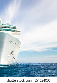 Half of cruise ship in ocean