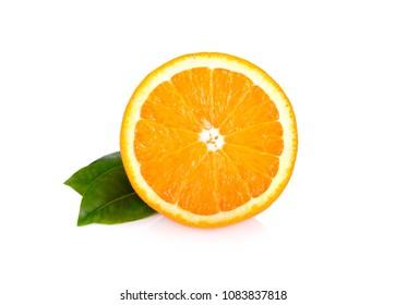 half cut fresh Navel orange with leaf on white background