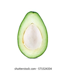 Half cut green ripe one avocado with seed isolated on white background
