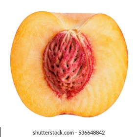 half cut peach isolated on white background clipping path