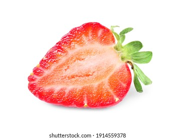 Half of delicious red strawberry isolated on white