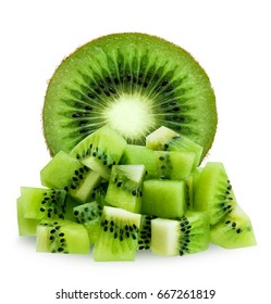 Half and diced kiwifruit isolated over white