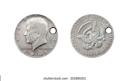 Half dollar coin with John F. Kennedy and the bullet hole. United States of America. 1968
