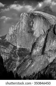 Half Dome in black and white.  Yosemite National Park, California USA.