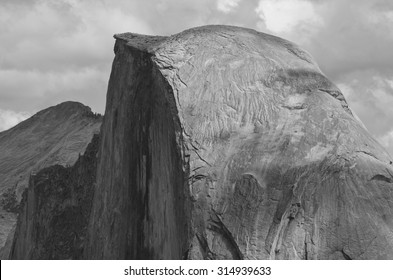 Half Dome with climbers atop in black and white, Yosemite National Park