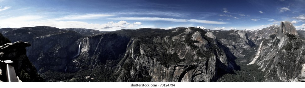 Half Dome, Clouds Rest, Yosemite Falls and the Valley viewed from Glacier Point