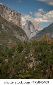 Half Dome and El Capitan in Yosemite National Park