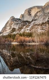 Half Dome Reflection on the Mirror Lake Trail at Yosemite National Park