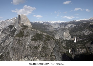 Half Dome, the result of glacial activity, stands out as a prominent landform in Yosemite National Park.