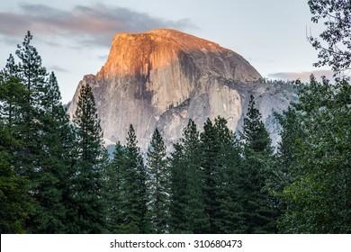 Half Dome at sunset in  Yosemite National Park, California, USA.