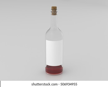 Half empty bottle of red wine with blank label isolated on white background. 3d render