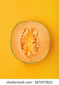 Color Melon Images Stock Photos Vectors Shutterstock If the cantaloupe is not quite ripe, the rind will be a green color. https www shutterstock com image photo half exotic cantaloupe melon on marigold 1872973021