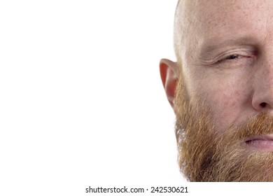 half face, bald man with beard