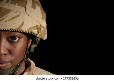 Half Face Portrait Of Black Female Soldier