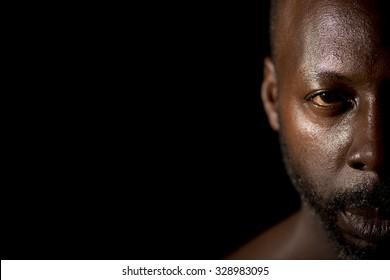 Half Face Portrait Of Calm Man