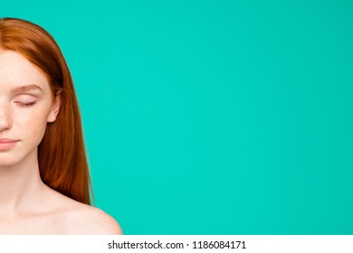 Half face portrait of nude red-haired girl with shiny pure clean clear fresh smooth flawless perfect skin, closed eyes, spa, therapy, treatment, copy space, isolated over green turquoise background