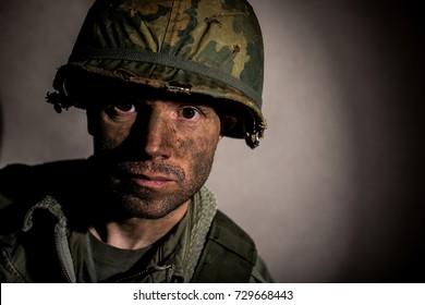 Half Face portrait of Shell Shocked US Marine - Vietnam War