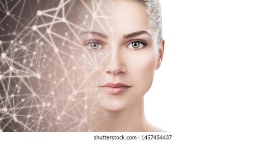 Das halbe Gesicht einer jungen Frau verschwindet im virtuellen Weltraum der Sterne. Auf weißem Hintergrund.